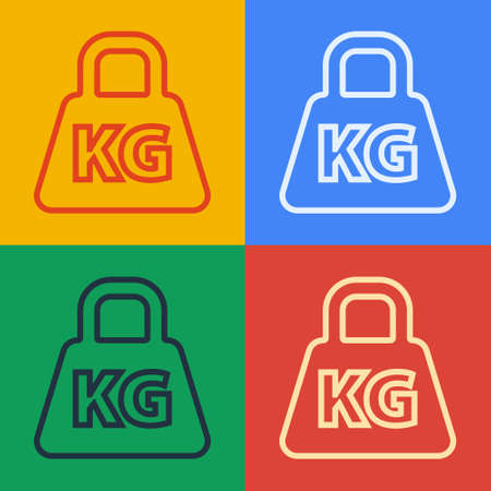 Pop art line Weight icon isolated on color background. Kilogram weight block for weight lifting and scale. Mass symbol. Vector Illustration