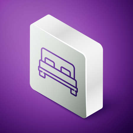 Isometric line Big bed for two or one person icon isolated on purple background. Silver square button. Vector Illustration