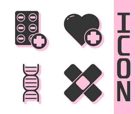 Set Crossed bandage plaster, Pills in blister pack, DNA symbol and Heart with a cross icon. Vector