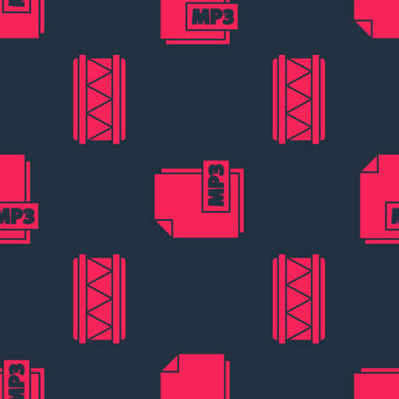 Set Drum and MP3 file document on seamless pattern. Vector