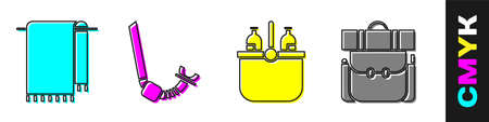 Set Towel on a hanger, Snorkel, Cooler bag and water and Hiking backpack icon. Vector