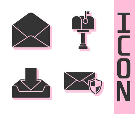 Set Envelope with shield, Envelope, Download inbox and Mail box icon. Vector