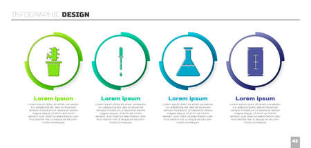 Set Cactus peyote in pot, Pipette, Test tube and flask and Blade razor. Business infographic template. Vector