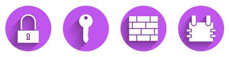 Set Lock, Key, Bricks and Bulletproof vest icon with long shadow. Vector