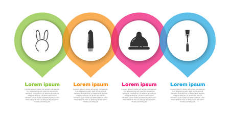 Set Mask with long bunny ears, Dildo vibrator, Condom and Leather whip. Business infographic template. Vector