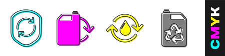 Set Recycle symbol inside shield, Eco fuel canister, Recycle clean aqua and Eco fuel canister icon. Vector  イラスト・ベクター素材