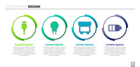 Set USB cable cord, Light emitting diode, Fuse and Battery charge level indicator. Business infographic template. Vector
