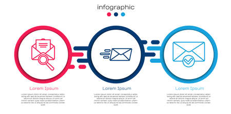 Set line Envelope with magnifying glass, Express envelope and Envelope and check mark. Business infographic template. Vector