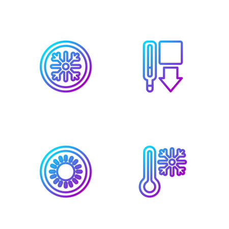 Set line Thermometer with snowflake, Sun, Snowflake and Medical thermometer. Gradient color icons. Vector