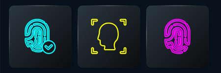 Set line Fingerprint, and Face recognition. Black square button. Vector