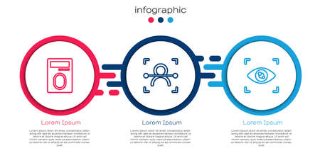 Set line Fingerprint with lock, Face recognition and Eye scan. Business infographic template. Vector
