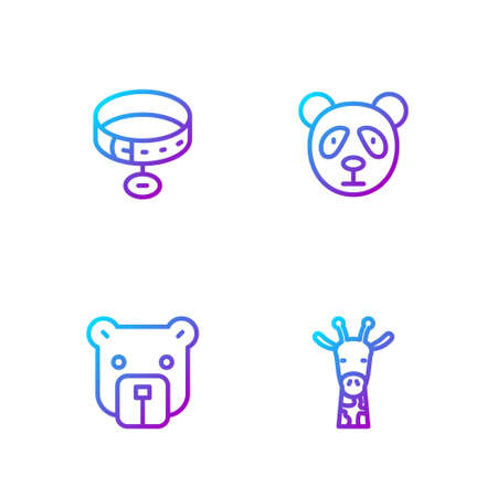 Set line Giraffe head, Bear, Collar with name tag and Cute panda face. Gradient color icons. Vector