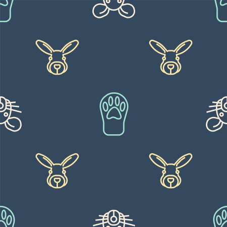 Set line Rat head, Rabbit and Paw print on seamless pattern. Vector