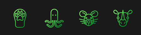 Set line Rat head, Paw print, Octopus and Rhinoceros. Gradient color icons. Vector