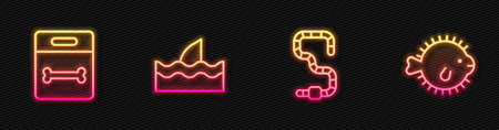 Set line Worm, Dog bone, Shark fin in ocean wave and Puffer fish. Glowing neon icon. Vector