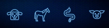 Set line Snake, Sheep head, Horse and Pig. Glowing neon icon on brick wall. Vector