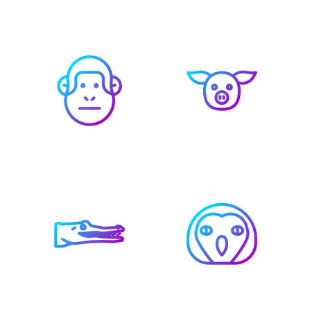 Set line Owl bird, Crocodile, Monkey and Pig. Gradient color icons. Vector