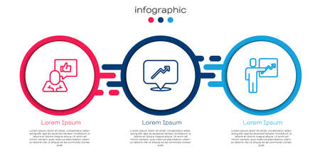 Set line Hand like, Graph, schedule, chart and Team leader. Business infographic template. Vector