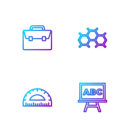 Set line Chalkboard, Protractor, Briefcase and Chemical formula. Gradient color icons. Vector