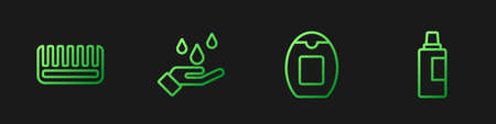 Set line Bottle of shampoo, Hairbrush, Washing hands with soap and for cleaning agent. Gradient color icons. Vector