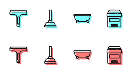 Set line Bathtub, Rubber cleaner, plunger and Antiperspirant deodorant roll icon. Vector