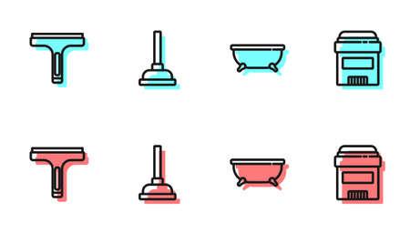 Set line Bathtub, Rubber cleaner, plunger and Antiperspirant deodorant roll icon. Vector Ilustración de vector
