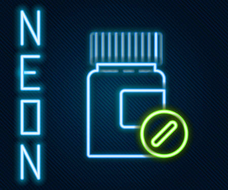 Glowing neon line Medicine bottle and pills icon isolated on black background. Bottle pill sign. Pharmacy design. Colorful outline concept. Vector Illustration
