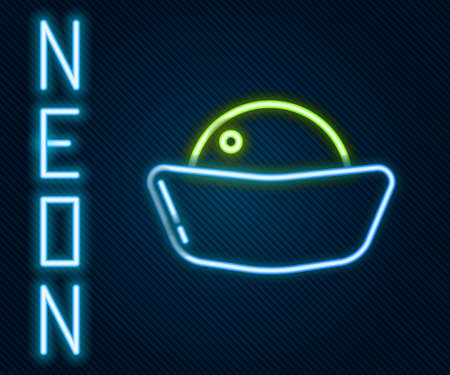 Glowing neon line Sushi icon isolated on black background. Traditional Japanese food. Colorful outline concept. Vector Illustration