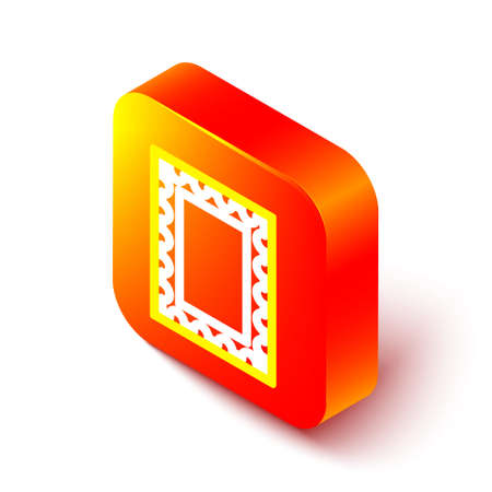 Isometric line Postal stamp icon isolated on white background. Orange square button. Vector Illustration