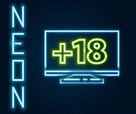 Glowing neon line Computer monitor with 18 plus content icon isolated on black background. Age restriction symbol. Sex content sign. Adult channel. Colorful outline concept. Vector Illustration 向量圖像