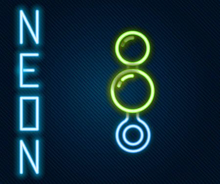 Glowing neon line Anal beads icon isolated on black background. Anal balls sign. Fetish accessory. Sex toy for men and woman. Colorful outline concept. Vector Illustration