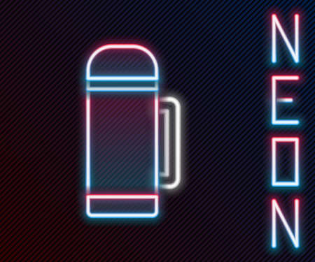 Glowing neon line flask container icon isolated on black background. Thermo flask icon. Camping and hiking equipment. Colorful outline concept. Vector Illustration
