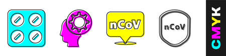 Set Pills in blister pack, Human and virus, Corona virus 2019-nCoV on location and Shield protecting from virus icon. Vector