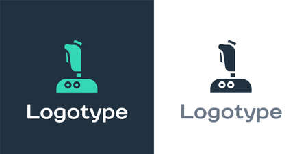 Logotype Joystick for arcade machine icon isolated on white background. Joystick gamepad. Logo design template element. Vector Illustration