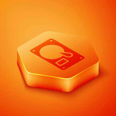 Isometric Hard disk drive HDD icon isolated on orange background. Orange hexagon button. Vector Illustration