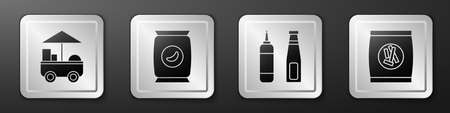 Set Fast street food cart, Bag or packet potato chips, Sauce bottle and Hard bread chucks crackers icon. Silver square button. Vector