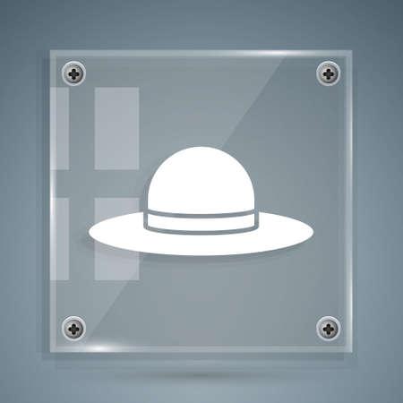White Elegant women hat icon isolated on grey background. Square glass panels. Vector Illustration