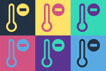 Pop art Meteorology thermometer measuring icon isolated on color background. Thermometer equipment showing hot or cold weather. Vector Vettoriali
