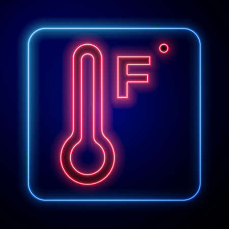 Glowing neon Meteorology thermometer measuring heat and cold icon isolated on blue background. Temperature Fahrenheit. Vector