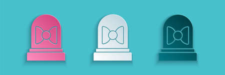Paper cut Motion sensor icon isolated on blue background. Paper art style. Vector Ilustração