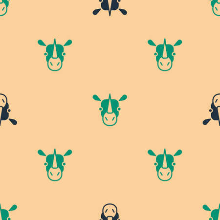 Green and black Rhinoceros icon isolated seamless pattern on beige background. Animal symbol. Vector
