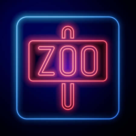 Glowing neon Zoo park icon isolated on blue background. Vector
