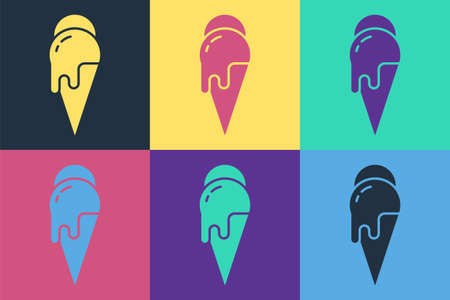 Pop art Ice cream in waffle cone icon isolated on color background. Sweet symbol. Vector