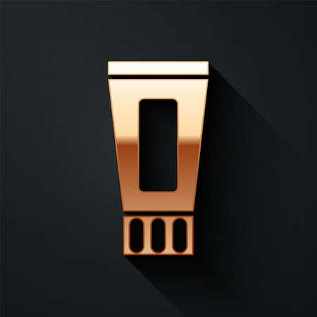 Gold Tube of toothpaste icon isolated on black background. Long shadow style. Vector