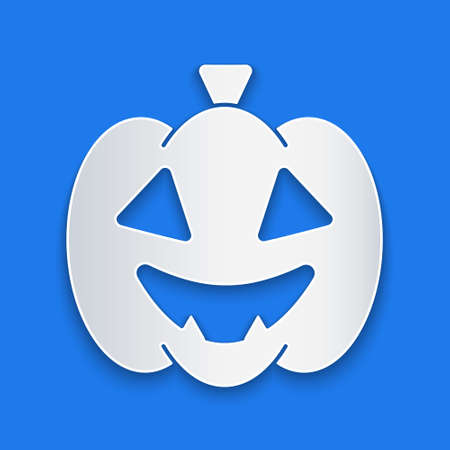 Paper cut Pumpkin icon isolated on blue background. Happy Halloween party. Paper art style. Vector