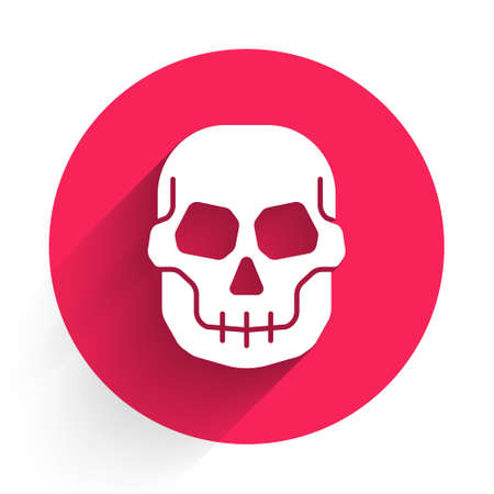 White Skull icon isolated with long shadow. Happy Halloween party. Red circle button. Vector