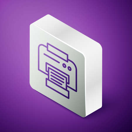 Isometric line Printer icon isolated on purple background. Silver square button. Vector Illustration