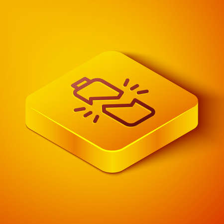 Isometric line Broken battery icon isolated on orange background. Yellow square button. Vector Illustration