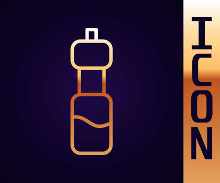 Gold line Bottle of water icon isolated on black background. Soda aqua drink sign. Vector Illustration  イラスト・ベクター素材