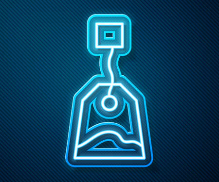 Glowing neon line Tea bag icon isolated on blue background. Vector Illustration
